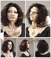 Парик женский кучерявые волосы канекалон темно-коричневый