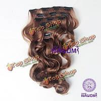 Волосы для наращивания коричневые пряди на клипсах 7шт