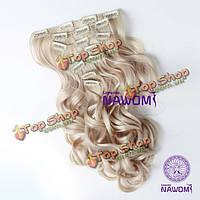 7 прядей волос цвет блонд на заколках для наращивания
