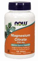 Магния Цитрат, Now Foods, Magnesium Citrate, 200mg, 100 tabs