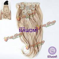 Длинные волосы пряди на заколках блонд 7шт