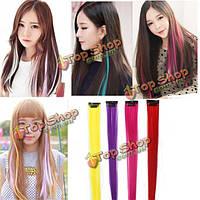 4 цвета красочные парики прямые длинные синтетические выдвижения волос кусок волос планшет