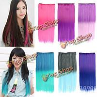 Волосы для наращивания цветной градиент прямые длинные на ленте