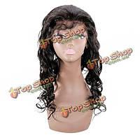 Парик натуральный длинные волнистые волосы с челкой