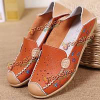 Женщин досуг обувь дышащая полые из квартиры мягкой подошве печати мокасины мокасины цветок