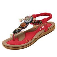 Богемия римского стиля бисера украшения леди сандалии мягкая подошва обувь