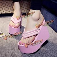 Женщин сексуальные высокие каблуки флип-флоп тапочки клина платформы пляжная обувь