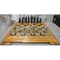 Набір шахів, дошка з дерева, бронзові фігурки, фото 1