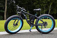 Электровелосипед LKS Fatbike Чёрно-синий (Фэтбайк) Electro Rear Drive