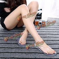 Женщина кристалл сандалии прозрачный флип-флоп ремешок плоские тапочки пляжные плоские туфли