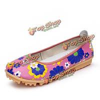 Цветок цветочные красочные плоские туфли мокасины аппартаментов Балетки, макасины