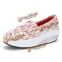 Новых женщин холст клин на высоких каблуках Туфли на платформе качели спортивные ботинки