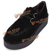 Британской ретро женские из искусственной замши на шнуровке панк платформе туфли на плоской подошве