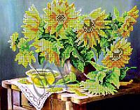 Схема для вышивки бисером Натюрморт Подсолнухи КМР 4057