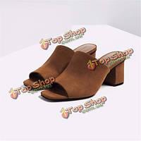 Замша пальца ноги щели скольжения на квадратный каблук чистого цвета на высоких каблуках сандалии