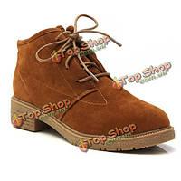 Женщин осень / зима полусапожки замшевые на шнуровке плоский каблук круглого toe обувь