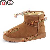 Мо новых мужчин зимой согреться замшевые искусственный мех низкий каблук плоский лодыжки короткое обувь модные ботинки снега