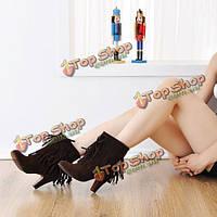 Женщины моды сапоги зимние кистями круглый носок тонкие каблуки лодыжки короткие сапоги