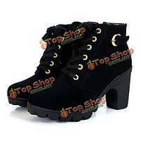Женщины девушка высокие верхние пятки ботильоны зимние насосы зашнуровать пряжки замшевые туфли