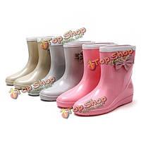Новый способ женщин нескользящей резины комфортно ПВХ скольжения на лодыжки короткое дождь сапоги