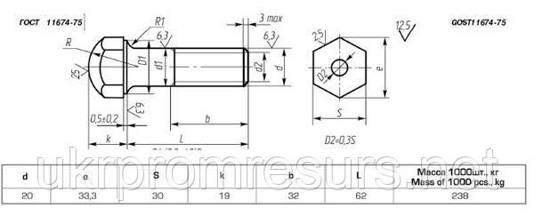 Болт башмачный М16х1,5х60 ГОСТ 11674-75