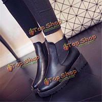 Женщины кожаные ботинки ботинки лодыжки коренастый пятки блок скольжения насосы круглый носок упругие сапоги