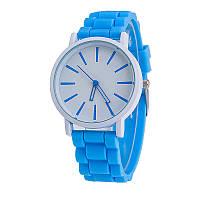 Женские силиконовые наручные часы кварцевые Feb22 на силиконовом ремешке голубые, белые
