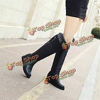 Женщины зимой над увлеченные сапоги хлопка увеличилась сапоги на платформе байкерские ботинки