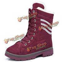 Женщин зимние ботинки снега высокой верхней плюшевых хлопка повседневная обувь середины икры мартеновские шнуровке сапоги