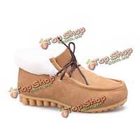Женщины теплый фасоли снизу хлопок мягкие замшевые туфли на плоской сапоги