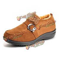 Новый случайные зимние ботинки хлопка скольжения на сапоги мягкие единственным свет лодыжки короткие сапоги