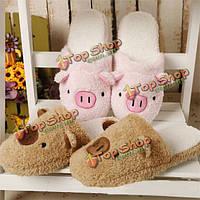Новый зимний любитель мультфильм свинья держать теплой плюшевой хлопка домашний крытый прекрасный туфлю