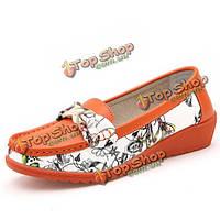 Моды для женщин плоские туфли круглый носок мягкой подошвой квартиры скользить по балетных туфлях BOWKNOT