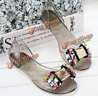 Женские летние шикарные пляжные сандалии Peep Toe плоский горный хрусталь обувь