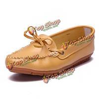 Бант раунд toe Slip-на мокасины кожаные плоские повседневная обувь