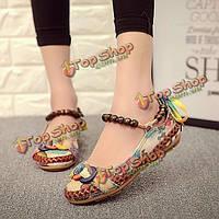 SOCOFY размер 5-11 женщин вскользь квартир Бисероплетение круглый носок красочные комфортабельные квартиры бездельников обувь