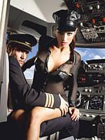 Костюм для сексуальных игр «Любимица пилота» 3-piece Black stewardess uniform, M/L