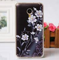 Чехол накладка из силикона для Meizu MX4 Pro с рисунком цветы