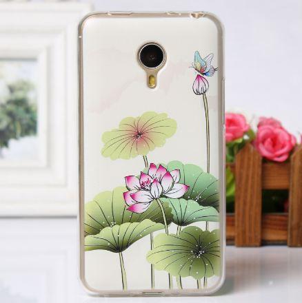 Бампер из силикона для Meizu MX4 Pro с рисунком цветочки