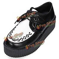 Меняющий зашнуровать дамы плоской лианы панк гот обувь