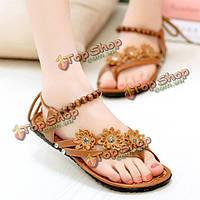 Новые женские летние квартиры моды пляж случайные флип-флоп цветок сандалии обувь аппартаментов