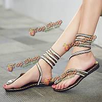 Женщин способа плоские пятки шику горный хрусталь гладиаторские сандалии босоножки обувь новый