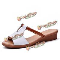 Женщины лето шик Peep Toe клин сандалии ремешками пляжные тапочки