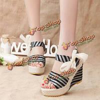 Женские летние пляжные сандалии пальца ноги щели Wadge обувь волшебной палочки сандалии