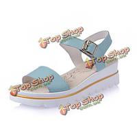 Женские летние клин сандалии мягкие удобные дышащая кожа пляж сандалии обувь