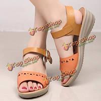 Женщины шикарный пляж клин сандалии выдалбливают сандалии платформы Peep Toe