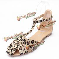 Сандалии обувь леопард плоский каблук шлепанцы