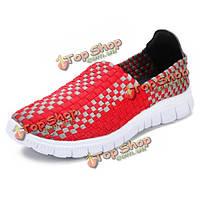 Новый корейский ручного вязания женщина случайные плоские спортивная обувь