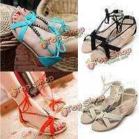 Плоский каблук повседневная обувь из бисера шнуровкой Гладиатор малые клинья