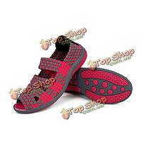 Женщины лето эластичный трикотаж досуг обувь плоские сандалии вязаные круглый носок обуви